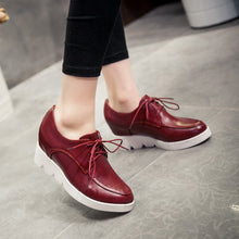 Load image into Gallery viewer, Women Platform Lace Up Wedges Shoes High Heel Loafers