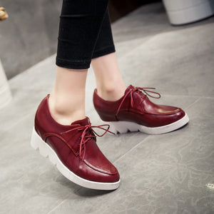 Women Platform Lace Up Wedges Shoes High Heel Loafers