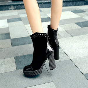 Black Ankle Boots Zipper High Heels Shoes Woman