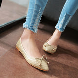 Stone Pattern Women Flat Shoes with Bow New 2016