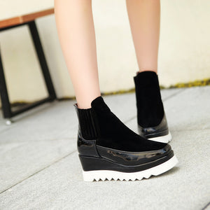 Round Toe Platform Wedges Ankle Boots Women Shoes New Arrival