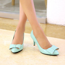 Load image into Gallery viewer, Bowtie Patent Leather Women Pumps High Heels Shoes Woman