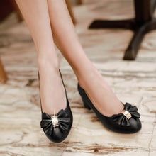 Load image into Gallery viewer, Women High Heels Shoes Rhinestone Bow Low Heeled Pumps 8494