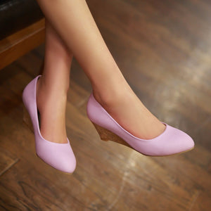 Pure Color Wedges Platform High Heels Women Shoes 5301