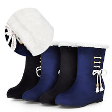 Load image into Gallery viewer, Women Fur Snow Boots Wedges Winter Mid Calf Boots Shoes Woman 2016 3510