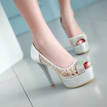 Load image into Gallery viewer, Sexy Lace Rhinestone Pumps Platform High Heels Fashion Women Shoes 6714