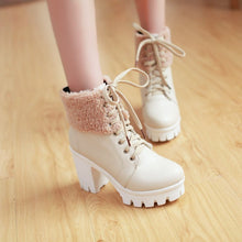 Load image into Gallery viewer, Lace Up Fur Ankle Boots High Heels Women Shoes