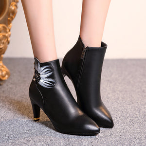 Pointed Toe Flower Pattern Studded Ankle Boots High Heels Shoes Woman 3274 3274