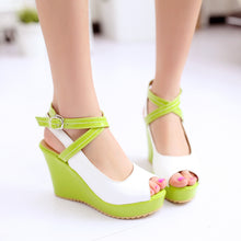 Load image into Gallery viewer, Cross Strap Platform Wedges Sandals Women Pumps Peep Toe Shoes Woman