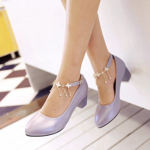 Rhinestone Women Pumps Ankle Straps High Heels Shoes Woman