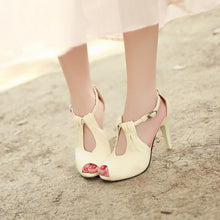 Load image into Gallery viewer, Ankle Wrap Sandals Peep Toes Women Pumps High Heels Spike Shoes Woman