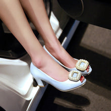 Load image into Gallery viewer, Rhinestone Pearl Chunky Heel Pumps Platform High Heels Fashion Women Shoes 5854