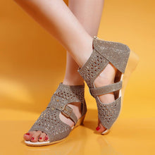 Load image into Gallery viewer, Wedges Sandals Women Buckle Rhinestone Shoes Woman 3444