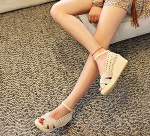 Women Ankle Strap Linen Wedge Sandals Platform Shoes 6715