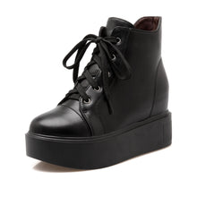 Load image into Gallery viewer, Ankle Boots for Women Platform Wedges Lace Up Pu Leather Autumn Winter Shoes Woman 4959
