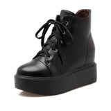 Ankle Boots for Women Platform Wedges Lace Up Pu Leather Autumn Winter Shoes Woman 4959