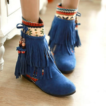 Load image into Gallery viewer, Tassel Ankle Boots Boheimia Wedges Women Shoes