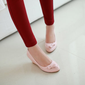 Bow Wedges Pumps Platform High Heels Women Shoes 7825