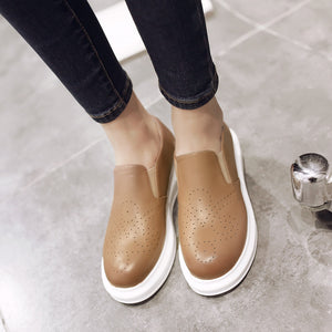 Women Flats Girl Cutout Casual Loafers Platform Shoes