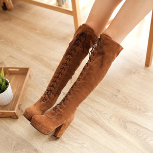 Cross Strap Platform Knee High Boots High Heels 6203
