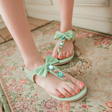 Load image into Gallery viewer, Flip Flops Flats Sandals Women Rhinestone Bowtie Shoes Woman 3453