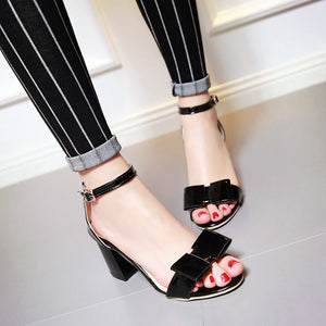 Bowtie Sandals Pumps High-heeled Shoes Woman