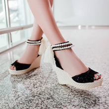 Load image into Gallery viewer, Beads Platform Sandals Peep Toe Lace Women Pumps High Heels Shoes Woman 3442