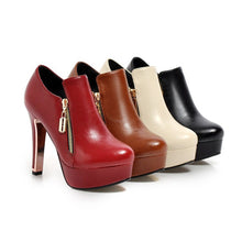 Load image into Gallery viewer, Round Toe Zipper Platform High Heels Ankle Boots 5230
