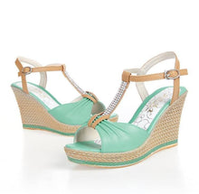 Load image into Gallery viewer, Wedges Sandals Women Rhinestone T Straps Platform Shoes Woman 3449