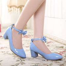 Load image into Gallery viewer, Women Pumps Ankle Straps Medium Heel Bowtie Patent Leather Shoes Woman 3535
