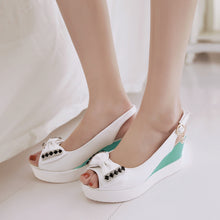 Load image into Gallery viewer, Summer Peep Toe Sandals Bow Wedges Platform High-heeled Shoes Woman