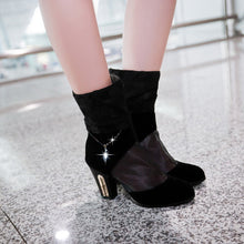 Load image into Gallery viewer, Lace High Heels Boots Rhinestone Zipper Shoes Woman