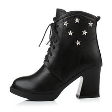 Load image into Gallery viewer, Studded Ankle Boots Platform Black High Heels Shoes Woman