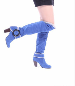 Buckle Women Knee High Boots Winter Artificial Suede High Heels Shoes Woman  3345