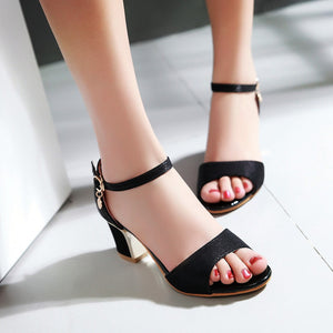Summer Ankle Straps Sandals Pumps High-heeled Shoes Woman Plus Size