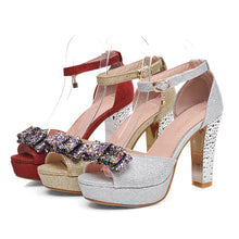 Load image into Gallery viewer, Fashion Ankle Straps Sandals Pumps with Bow Platform High Heels Women Dress Shoes 7084