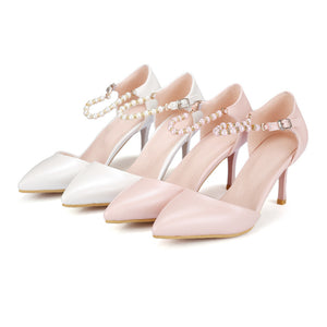 Pointed Toe Pearl Women Pumps High Heels Spike Shoes 1287