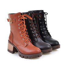 Load image into Gallery viewer, Ankle Boots for Women Thick Heels Motorcycle Boots Belt Buckle Lace Up Autumn Winter Shoes Woman 4711