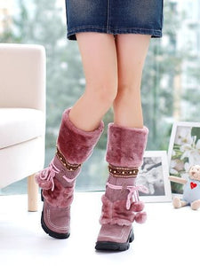 Warm Fur Ball Studded Snow Boots Women Shoes 5749