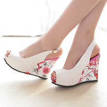 Load image into Gallery viewer, Peep Toe Platform Wedges Sandals Women Pumps Floral Printed High Heels Shoes Woman 3544