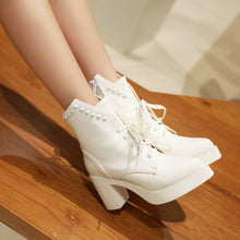 Load image into Gallery viewer, Studded Ankle Boots Women High Heels Shoes Fall|Winter
