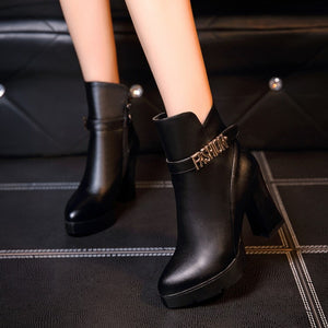 Pointed Toe Ankle Boots Chunky Heel Pumps High Heels Shoes Woman
