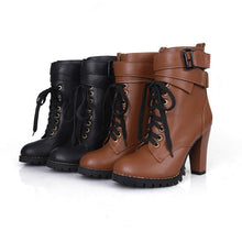 Load image into Gallery viewer, Lace Up Ankle Boots Platform High Chunky Heels Women Shoes 9583