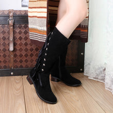 Load image into Gallery viewer, Round Toe Flock Studded Tassel Women Knee High Boots 7820