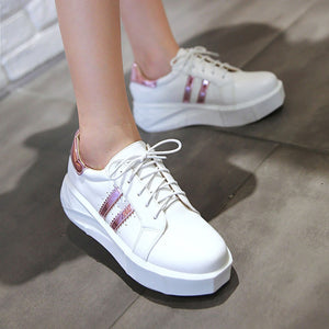 Patent Leather Women Wedges Loafers Lace Up Platform Shoes