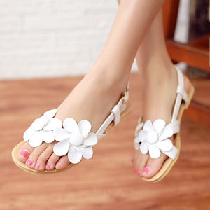 Flower Ankle Strap Flat Sandals Women Shoes 4794
