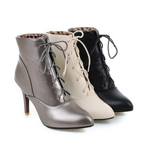 Load image into Gallery viewer, Ankle Boots for Women Lace Up Spike Heel High Heels Autumn Winter Pointed Toe Shoes Woman 4766