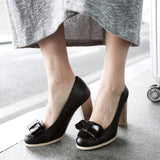 Bow Women Chunky Heel Pumps Platform High Heels Dress Shoes Plus Size