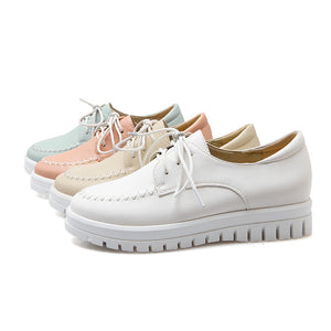 Lace Up Women Loafers Casual Platform Shoes