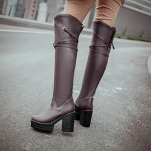 Load image into Gallery viewer, Pu Leather Thigh High Boots Platform Motorcycle Boots High Heels Thick Heeled Shoes Woman 3290 3290